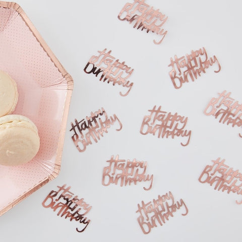 Rose Gold Happy Birthday Ditsy Floral Table Confetti