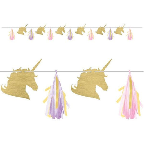 Unicorn Sparkle Tissue Tassel garlant with Cutout