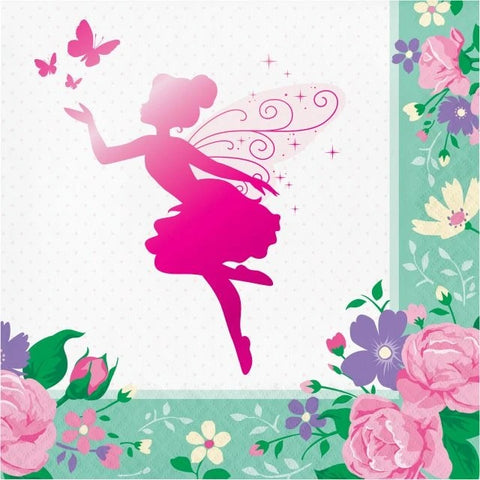 Floral Fairy Sparkle Luncheon Napkins Foil Stamp