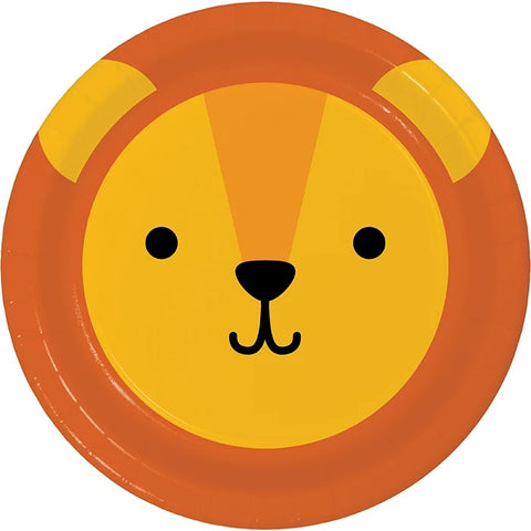 Animal Faces Lion Round Luncheon Plate 7in 8pcs