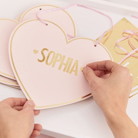 Gold Foiled Heart Signs With Stickers To Customise 4pcs