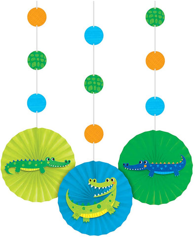 Alligator Party Hanging Décor w/ Cutouts & Paper Fans 36in x 8in 3pcs