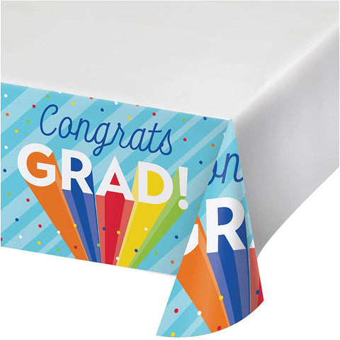 Rainbow Grad Paper Tablecover 54in x 102in 1 pc