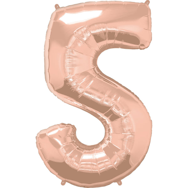 Rose Gold Foil Balloon #5 Shape 44 inch