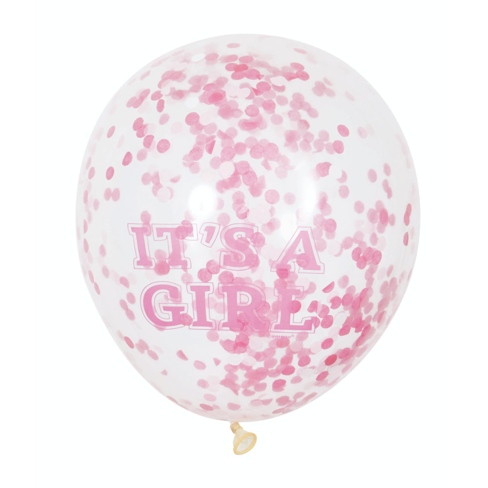 Its A Girl Clear 12in Balloons With Confetti