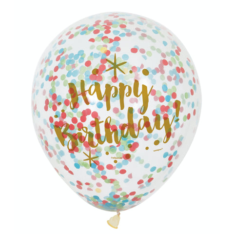 Glitzy Birthday Clear Balloons With Confetti
