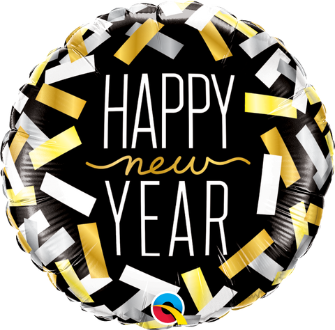 New Year Confetti Stripes Foil Balloon