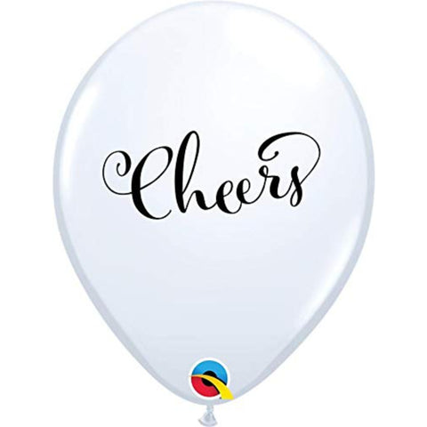 11 in Latex Printed Balloon White Cheers!