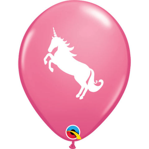 11in Latex Unicorn Printed Balloons Pink 6 pieces