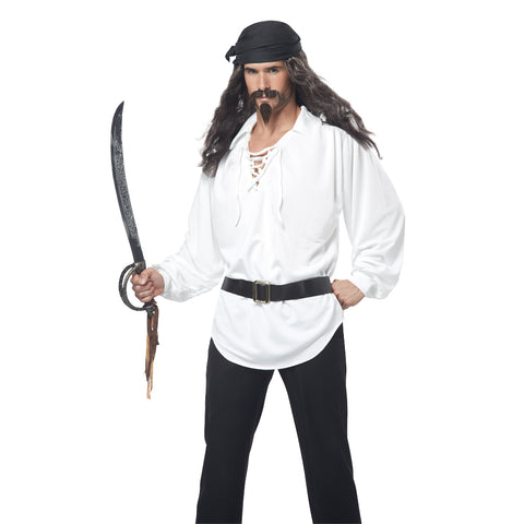 Pirate Male Wig, Moustache & Chin Patch Black/Grey