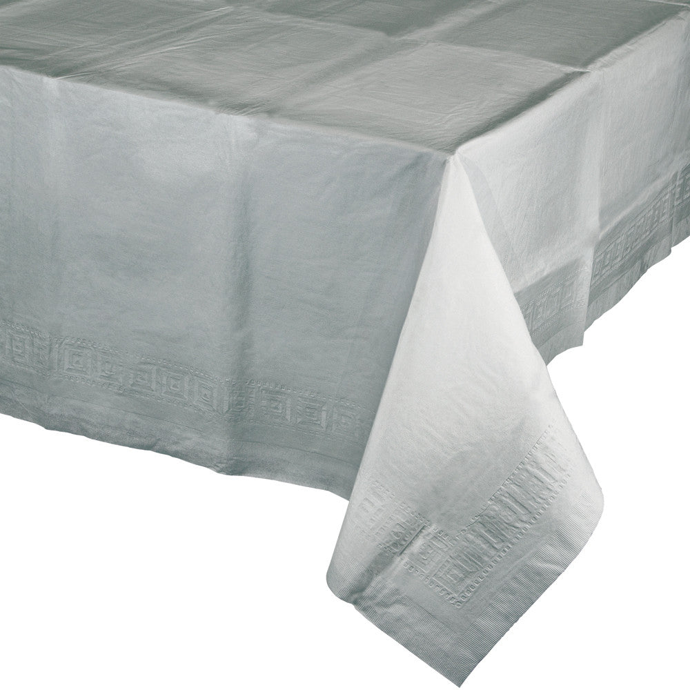 Touch Of Color Shimmering Silver Plastic Lined Tablecover