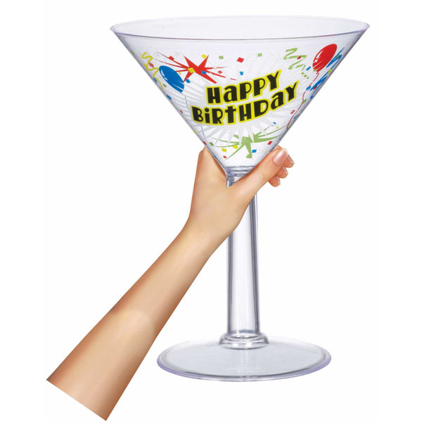 Jumbo Happy Birthday Plastic Martini Glass