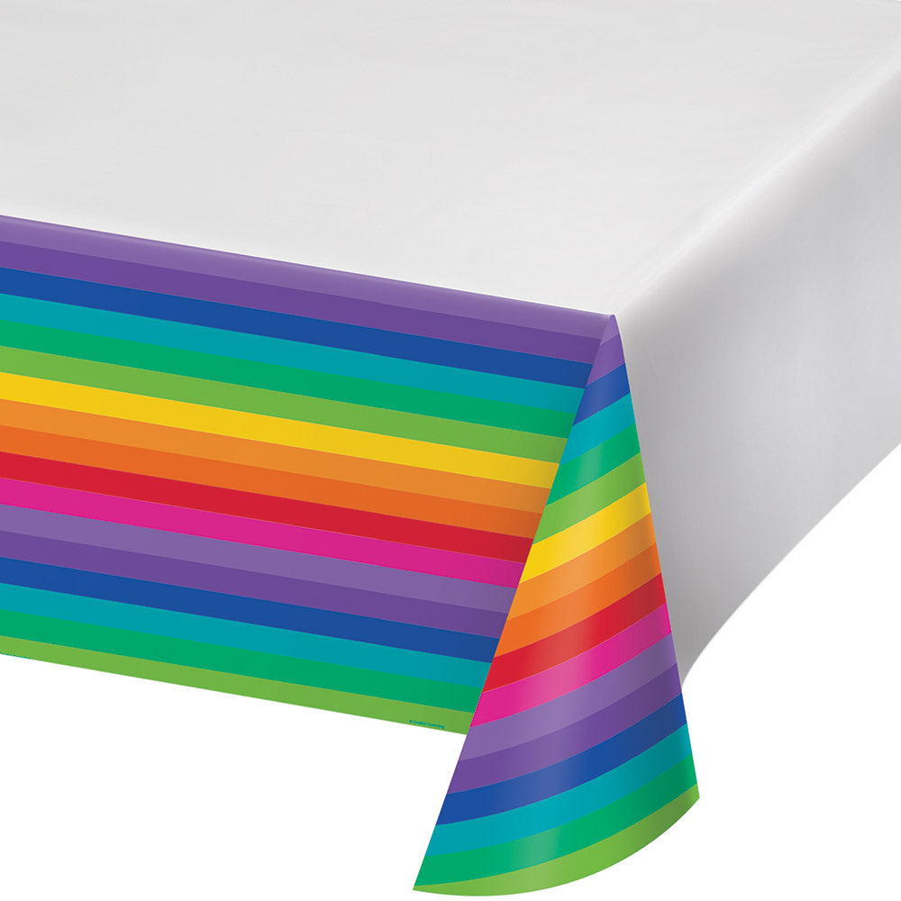 Rainbow Plastic Table Cover Border Print