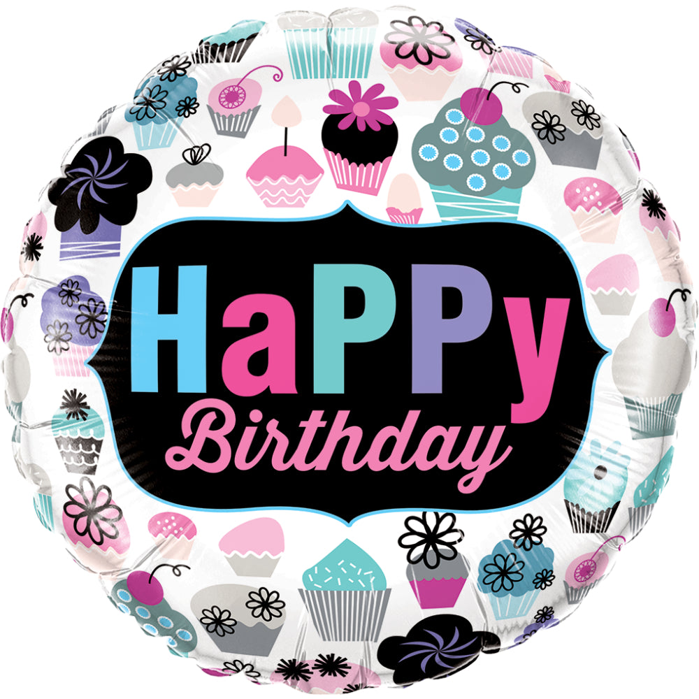 Birthday Cupcakes Emblem Foil Balloon