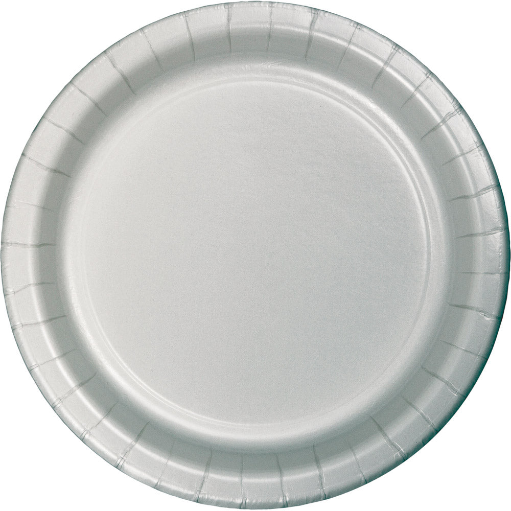 Touch Of Color Shimmering Silver Round Luncheon Plate