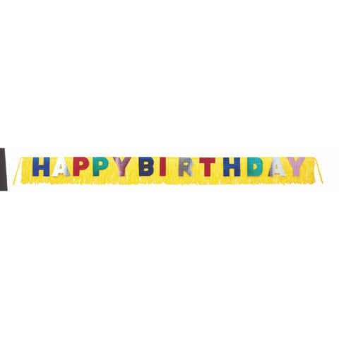 Happy Birthday Giant Foil Fringe Banner