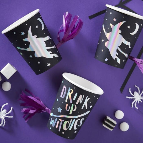 Creep It Real Paper Cups Witches With Tassel 8pcs