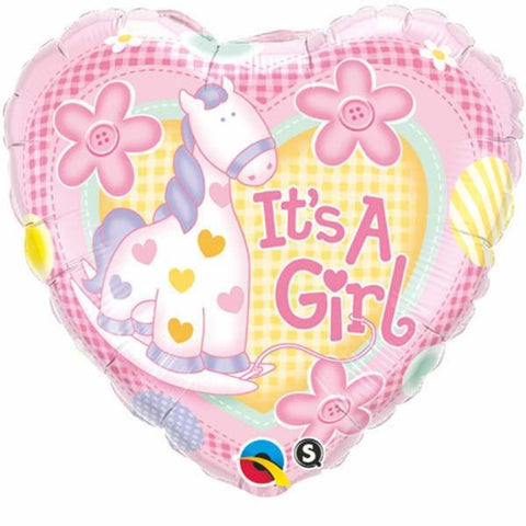 Its A Girl Soft Pony Foil Balloon