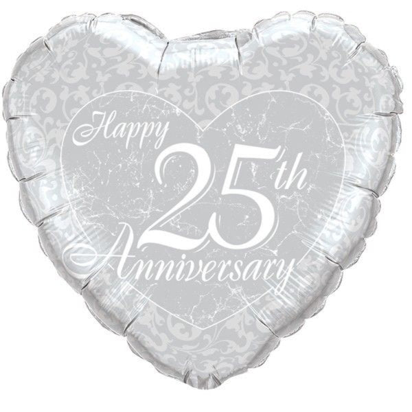 Happy 25th Anniversary Heart Foil Balloon