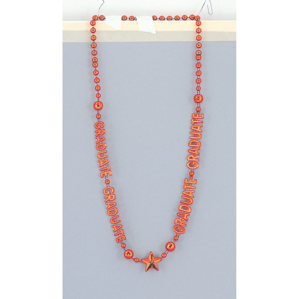 Orange Metallic  Bead Necklace Graduation