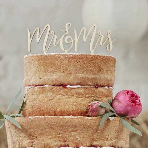 Boho Cake Topper Wooden Mr And Mrs