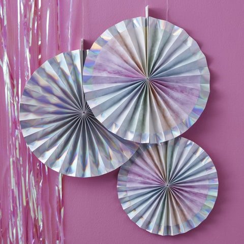 Iridescent Party Fan Decorations Rainbow