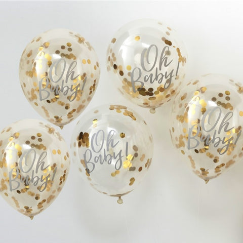 Oh Baby Confetti Balloons 12in Gold