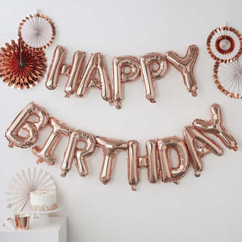 Pick & Mix Rose Gold Balloon Bunting Happy Birthday