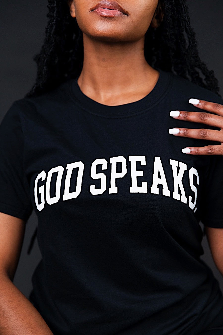 GOD SPEAKS (BLACK) ARC TEE