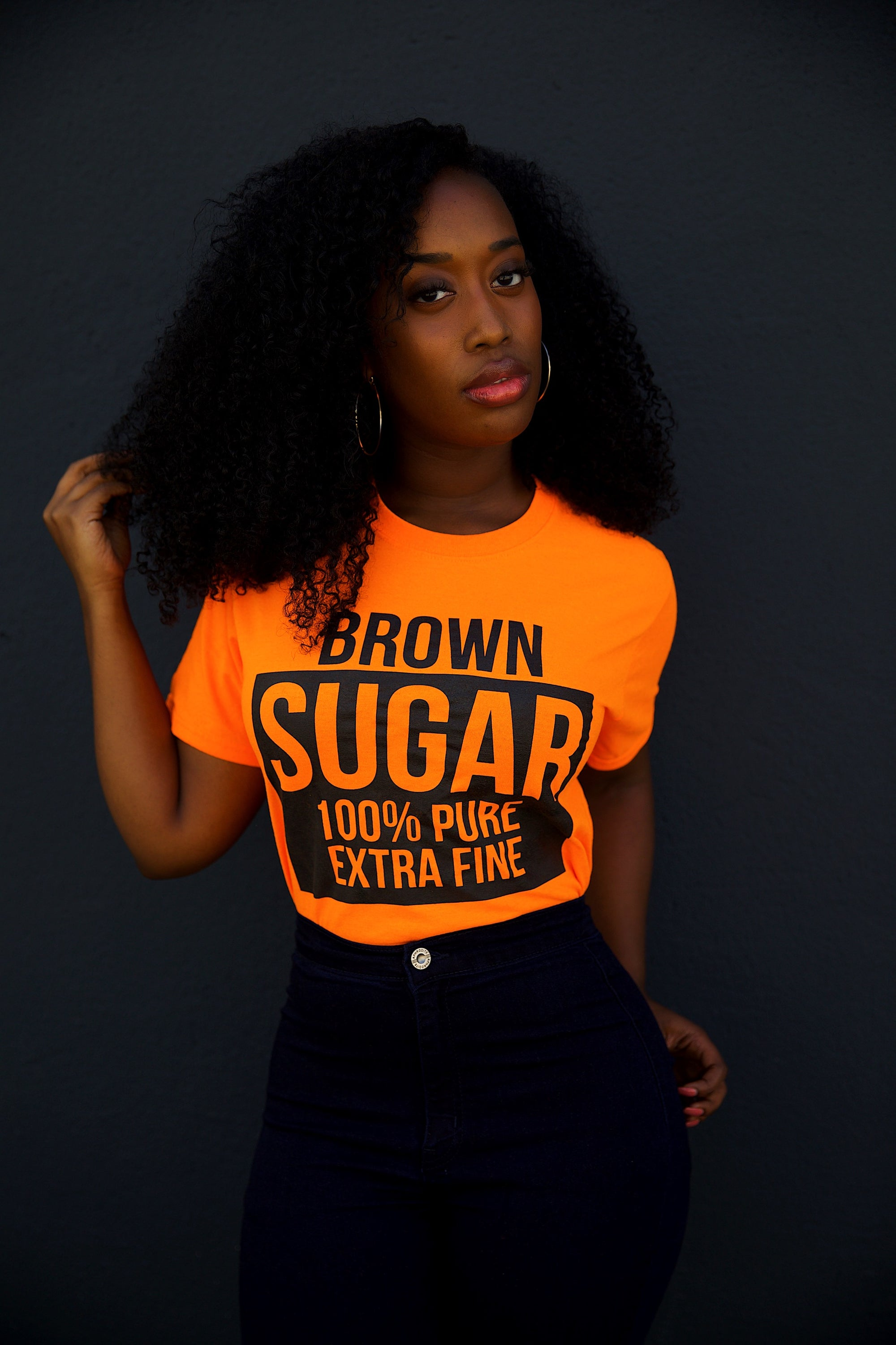 BROWN SUGAR (HIGHLIGHTER ORANGE TEE)