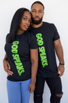 GOD SPEAKS TEE (BLACK/LIGHT GREEN)