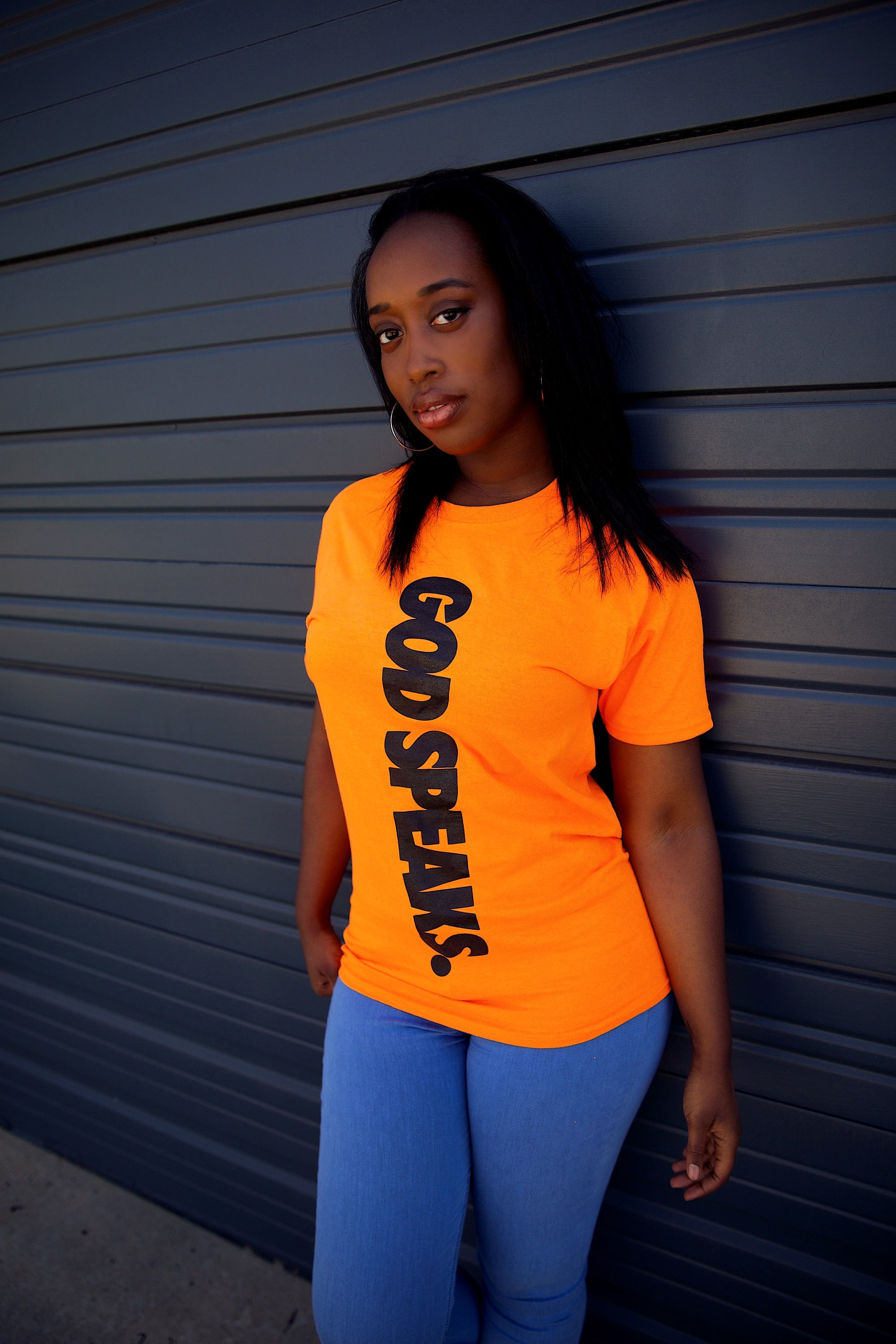 GOD SPEAKS TEE (NEON ORANGE/BLACK)