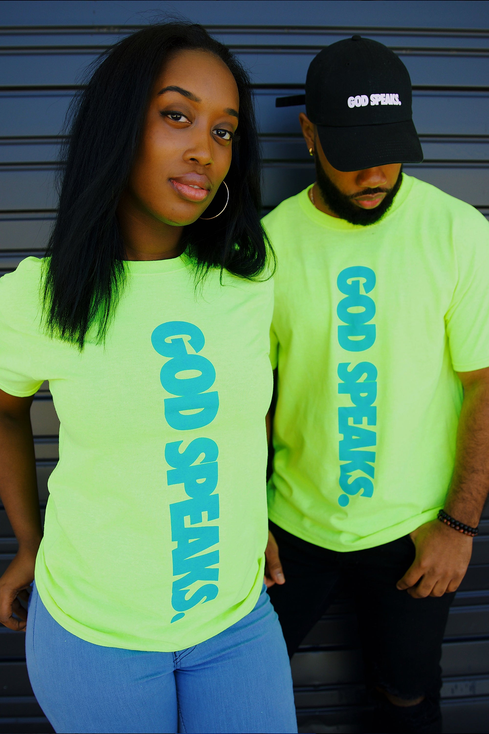 GOD SPEAKS TEE (NEON GREEN/BLUE)