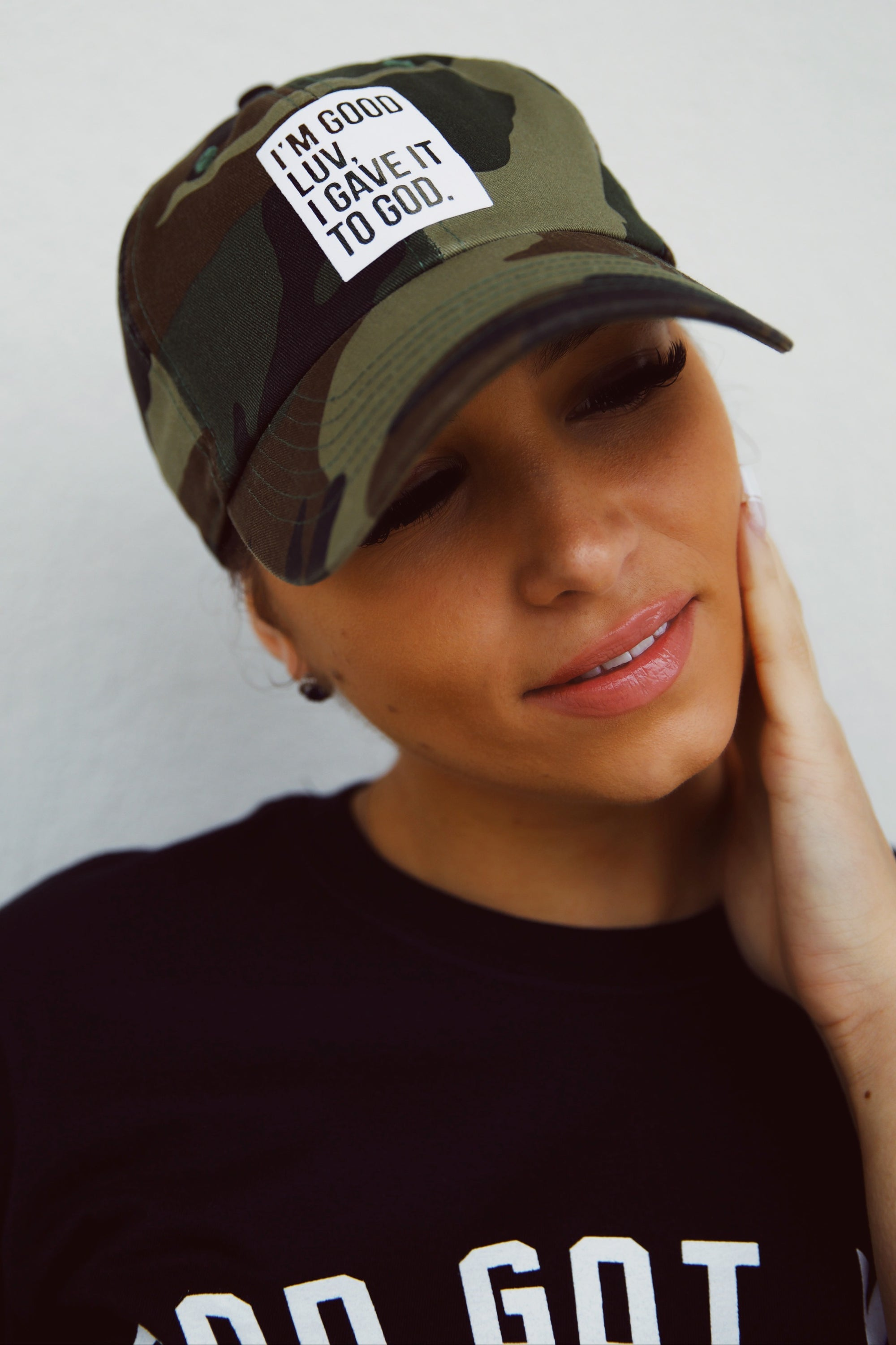 """I'M GOOD LUV"" CAMO HAT (WHITE BOX)"