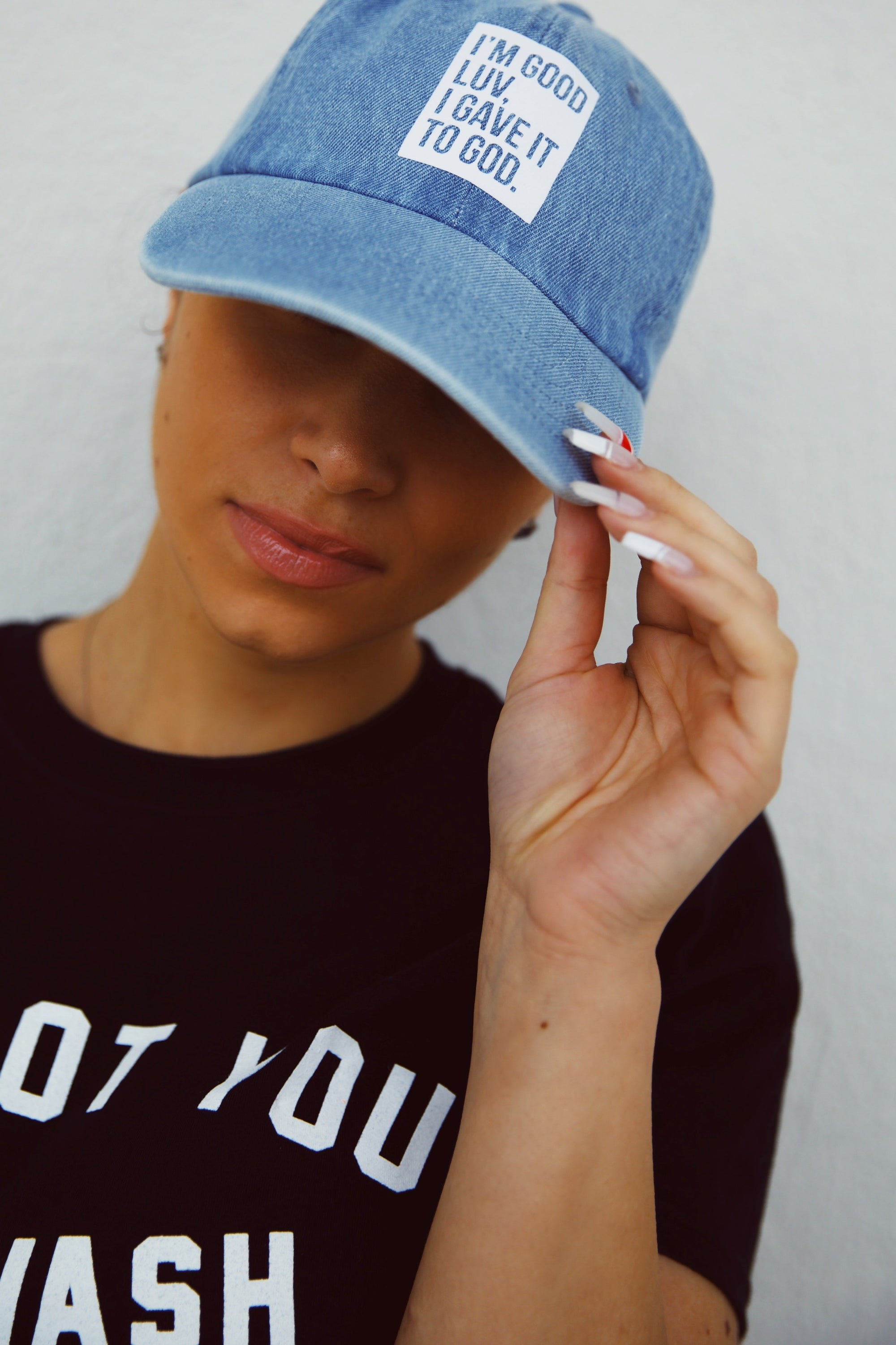 """I'M GOOD LUV"" LIGHT DENIM HAT (WHITE BOX)"