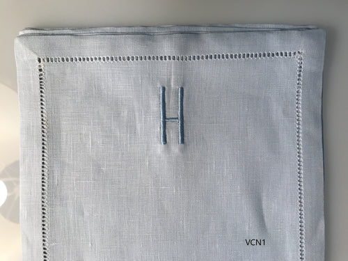 Cocktail Napkins - Blue linen with monogram