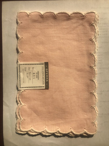 Cocktail Napkins - Pink Linen with white border