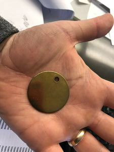 "Round Blank Brass Tags with Hole - 1.5"" Diameter - Lot of 5 - Dog, Key, ID"