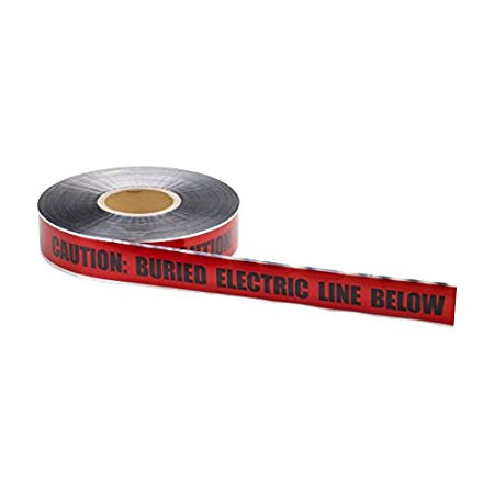 Mutual Industries 17774-79-3000 Polyethylene Underground Electric Detectable Marking Tape 1000' Length x 3