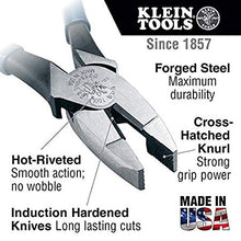 Load image into Gallery viewer, High Leverage Pliers, 9-Inch Side Cutters with 46-Percent More Gripping Power than Other Pliers Klein Tools D213-9NE