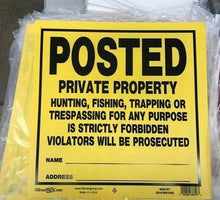 "Load image into Gallery viewer, Sign - POSTED PRIVATE PROPERTY NO TRESPASSING-11"" x 11"" Styrene - Lot of 6"