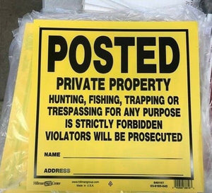 "Sign - POSTED PRIVATE PROPERTY NO TRESPASSING-11"" x 11"" Styrene - Lot of 6"