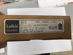 "Vintage Lufkin 50 Ft x 5/8"" Tape Measure Hi-Line Non Metallic 403"