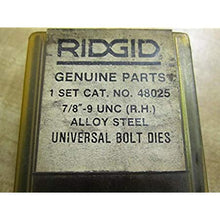 Load image into Gallery viewer, Ridgid 48025 7/8-9 Universal Bolt Dies Set Of 4