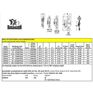 All Material Handling CB005-30-28 Badger Manual Chain Hoist, 1/2 (0.5) Ton, 30' Lift, 28' Drop