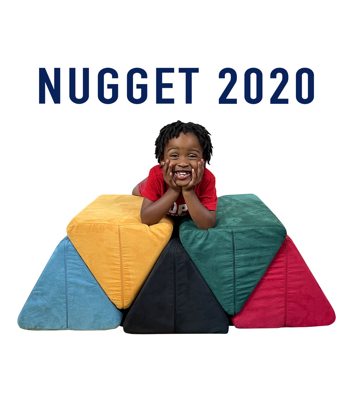 """""""Nugget 2020"""" with kid grinning on top of five Nugget pillows configured like Olympic rings"""