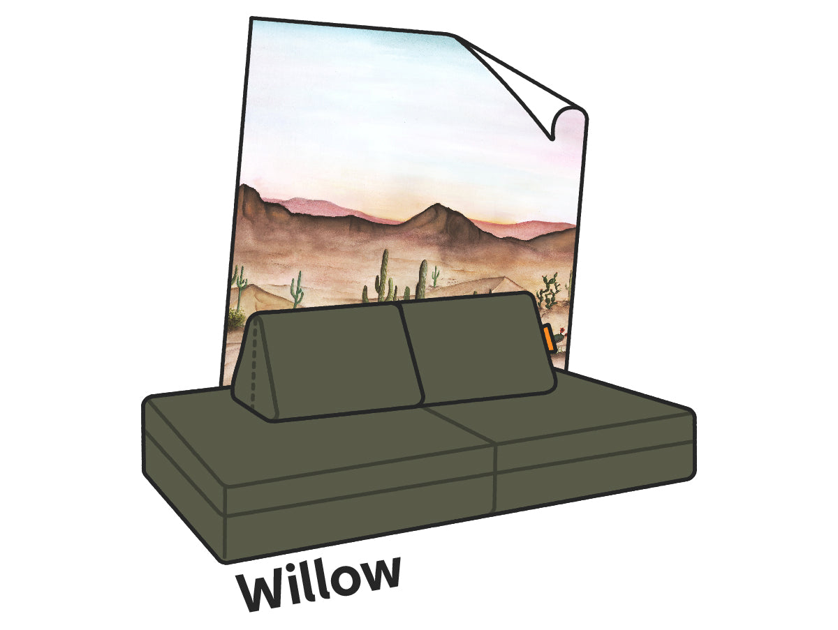 An illustrated Willow Nugget couch paired with Anewall's Sedona print