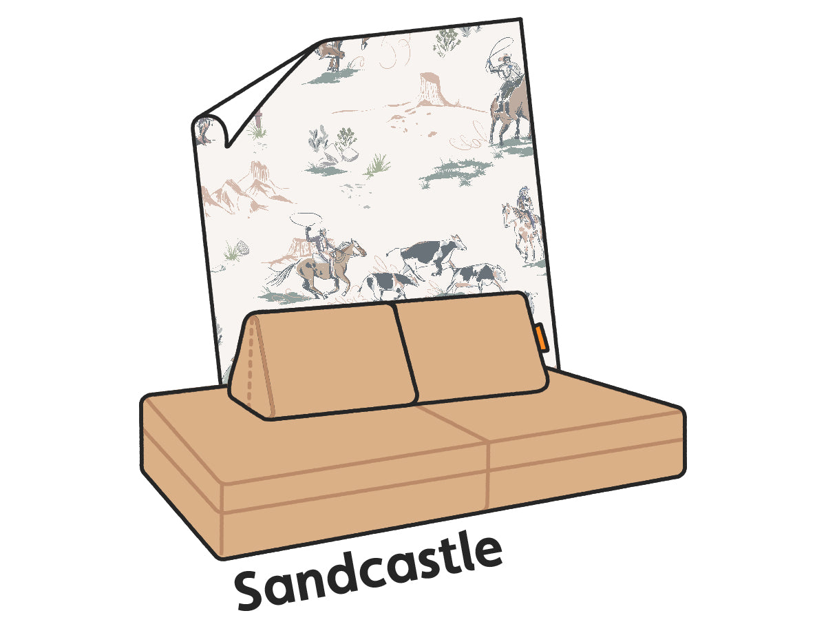 An illustrated Sandcastle Nugget couch paired with Anewall's Western print