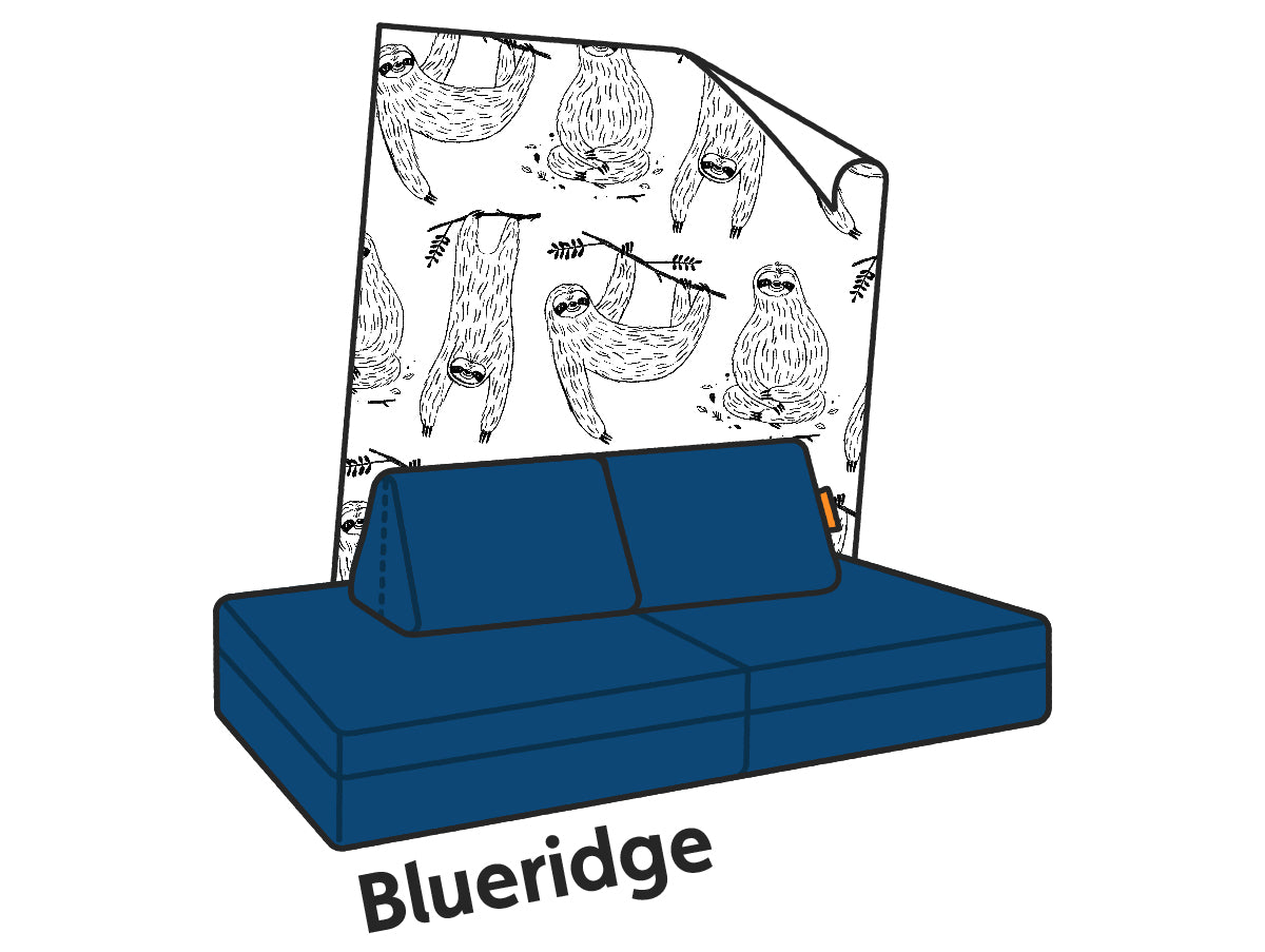 An illustrated Blueridge Nugget couch paired with Anewall's Mr. Sloth print