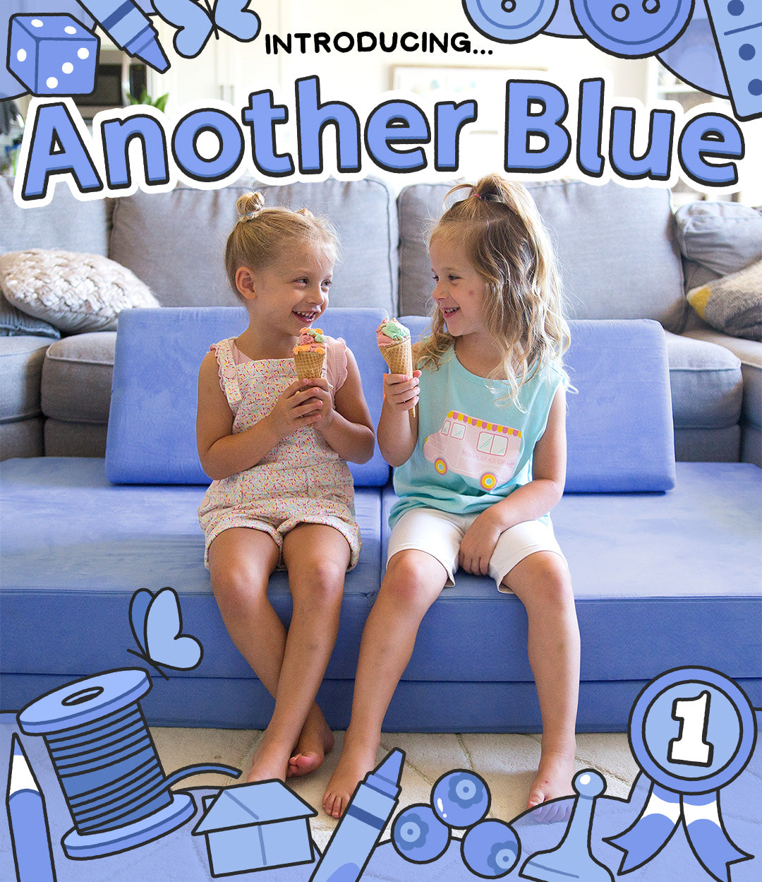 introducing another Nugget blue! Two girls sitting on a blue Nugget.